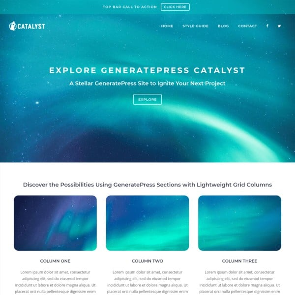 Generatepress theme design example